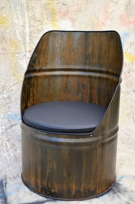 Industrial Furniture Barrel Chair W/ Vinyl Padded Seat. Patina Finish    Whiteu0027s Modern Industrial